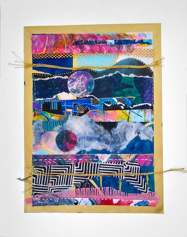 Collage by Tina Alberni.  Works in this series are informed by current events that occur by the direct impact of caustic human behavior and naturally occurring chaotic events