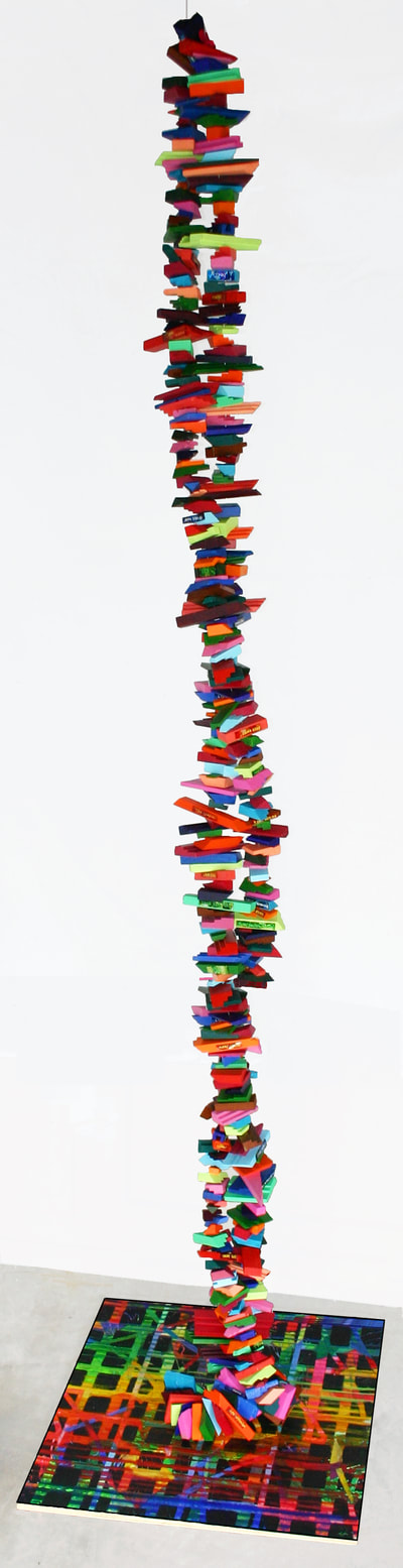 "Life: Interwoven  Wood, acrylic, glass, wire, resin, 10' x 27"" x 29"""