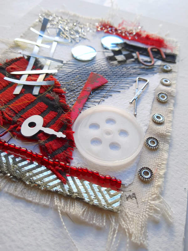 Composition III Metal, recycled plastic, vintage beads, fabric & found objects Framed, 9x12 This particular collage empathizes with the feeling of overwhelm by Tina Alberni    ©2020 Color by Design Studio